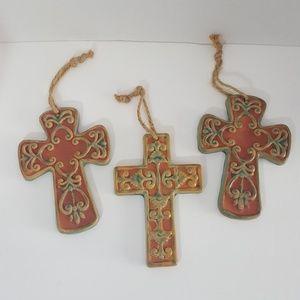 3 small ceramic crosses rope string